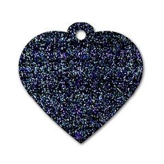 Pixel Colorful And Glowing Pixelated Pattern Dog Tag Heart (one Side) by Simbadda