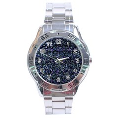 Pixel Colorful And Glowing Pixelated Pattern Stainless Steel Analogue Watch by Simbadda