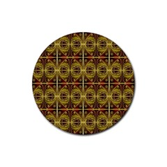 Seamless Symmetry Pattern Rubber Coaster (round)  by Simbadda
