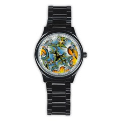 Fractal Background With Abstract Streak Shape Stainless Steel Round Watch