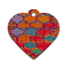 Abstract Art Pattern Dog Tag Heart (one Side) by Simbadda