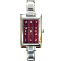 Colorful And Glowing Pixelated Pixel Pattern Rectangle Italian Charm Watch by Simbadda