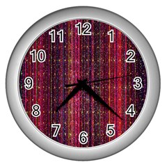 Colorful And Glowing Pixelated Pixel Pattern Wall Clocks (silver)