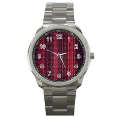 Colorful And Glowing Pixelated Pixel Pattern Sport Metal Watch by Simbadda