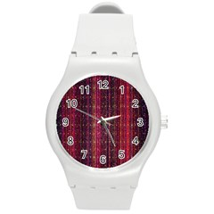 Colorful And Glowing Pixelated Pixel Pattern Round Plastic Sport Watch (m) by Simbadda