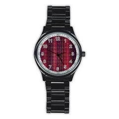 Colorful And Glowing Pixelated Pixel Pattern Stainless Steel Round Watch by Simbadda