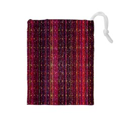 Colorful And Glowing Pixelated Pixel Pattern Drawstring Pouches (large)  by Simbadda