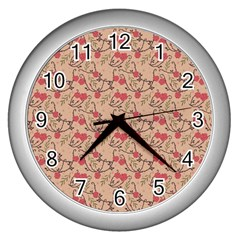 Vintage Flower Pattern  Wall Clocks (silver)  by TastefulDesigns