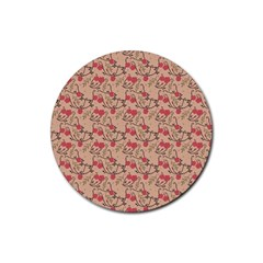Vintage Flower Pattern  Rubber Round Coaster (4 Pack)  by TastefulDesigns