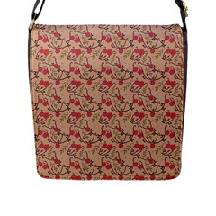Vintage Flower Pattern  Flap Messenger Bag (l)  by TastefulDesigns