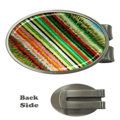 Colorful Stripe Extrude Background Money Clips (oval)