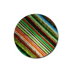 Colorful Stripe Extrude Background Rubber Coaster (round)  by Simbadda