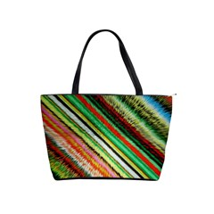 Colorful Stripe Extrude Background Shoulder Handbags by Simbadda