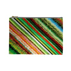 Colorful Stripe Extrude Background Cosmetic Bag (large)  by Simbadda