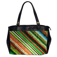 Colorful Stripe Extrude Background Office Handbags (2 Sides)  by Simbadda