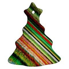 Colorful Stripe Extrude Background Ornament (christmas Tree)  by Simbadda