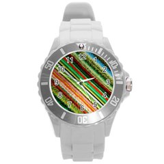 Colorful Stripe Extrude Background Round Plastic Sport Watch (l) by Simbadda