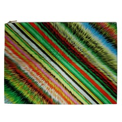 Colorful Stripe Extrude Background Cosmetic Bag (xxl)