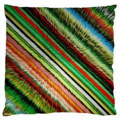 Colorful Stripe Extrude Background Large Flano Cushion Case (one Side) by Simbadda