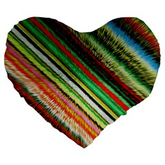 Colorful Stripe Extrude Background Large 19  Premium Flano Heart Shape Cushions