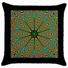 Vibrant Seamless Pattern  Colorful Throw Pillow Case (black) by Simbadda