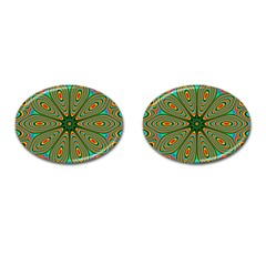 Vibrant Seamless Pattern  Colorful Cufflinks (oval) by Simbadda