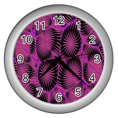 Self Similarity And Fractals Wall Clocks (silver)  by Simbadda