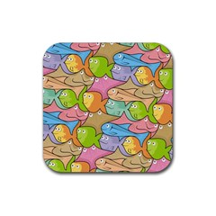 Fishes Cartoon Rubber Square Coaster (4 Pack)  by sifis