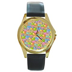 Fishes Cartoon Round Gold Metal Watch by sifis