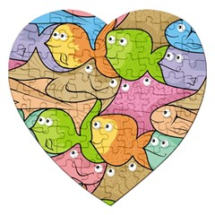 Fishes Cartoon Jigsaw Puzzle (heart) by sifis