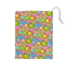 Fishes Cartoon Drawstring Pouches (large)  by sifis