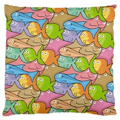 Fishes Cartoon Standard Flano Cushion Case (one Side) by sifis