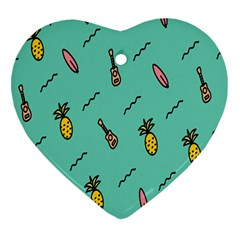 Guitar Pineapple Heart Ornament (two Sides)