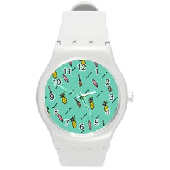 Guitar Pineapple Round Plastic Sport Watch (m) by Alisyart