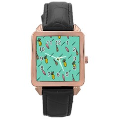 Guitar Pineapple Rose Gold Leather Watch  by Alisyart