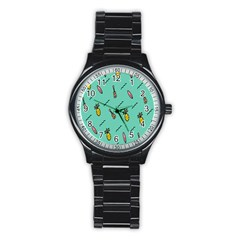 Guitar Pineapple Stainless Steel Round Watch by Alisyart