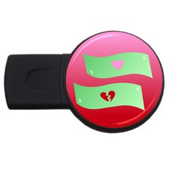 Money Green Pink Red Broken Heart Dollar Sign Usb Flash Drive Round (2 Gb) by Alisyart