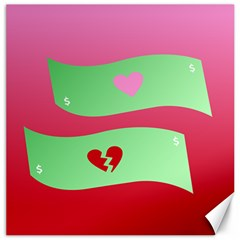 Money Green Pink Red Broken Heart Dollar Sign Canvas 16  X 16   by Alisyart