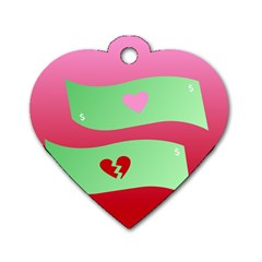 Money Green Pink Red Broken Heart Dollar Sign Dog Tag Heart (two Sides)