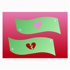 Money Green Pink Red Broken Heart Dollar Sign Large Glasses Cloth by Alisyart