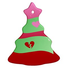 Money Green Pink Red Broken Heart Dollar Sign Christmas Tree Ornament (two Sides) by Alisyart