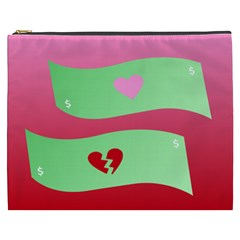 Money Green Pink Red Broken Heart Dollar Sign Cosmetic Bag (xxxl)