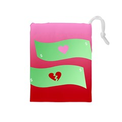 Money Green Pink Red Broken Heart Dollar Sign Drawstring Pouches (medium)  by Alisyart