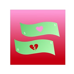 Money Green Pink Red Broken Heart Dollar Sign Small Satin Scarf (square)