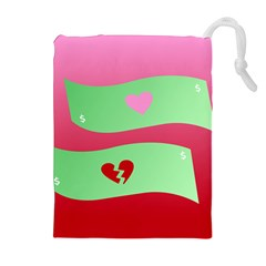 Money Green Pink Red Broken Heart Dollar Sign Drawstring Pouches (extra Large)