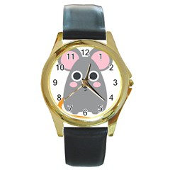 Mouse Grey Face Round Gold Metal Watch
