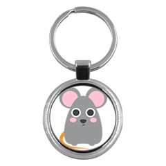 Mouse Grey Face Key Chains (round)  by Alisyart