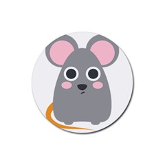 Mouse Grey Face Rubber Round Coaster (4 Pack)  by Alisyart