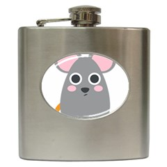 Mouse Grey Face Hip Flask (6 Oz) by Alisyart