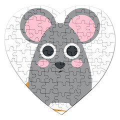 Mouse Grey Face Jigsaw Puzzle (heart) by Alisyart